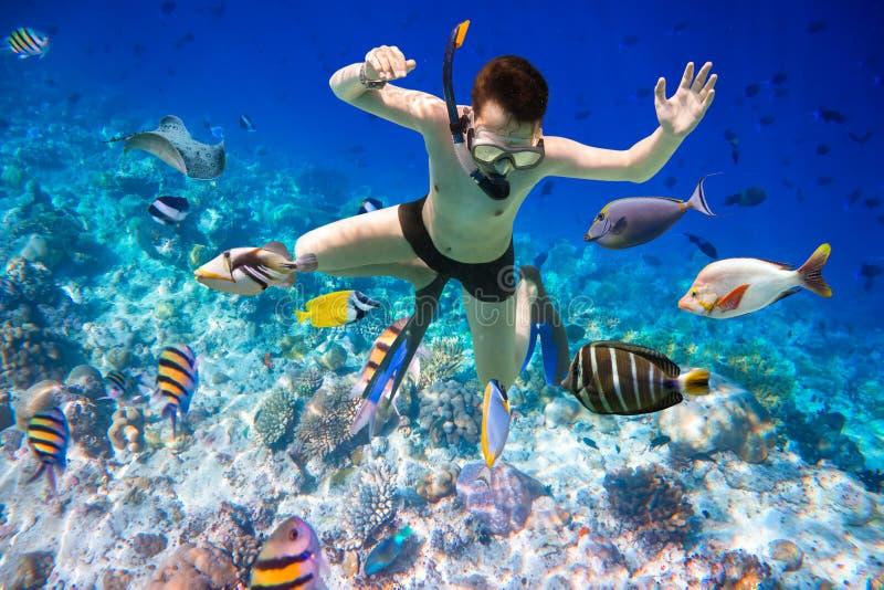 Recife de corais do Oceano Índico de Snorkeler Maldivas imagem de stock royalty free