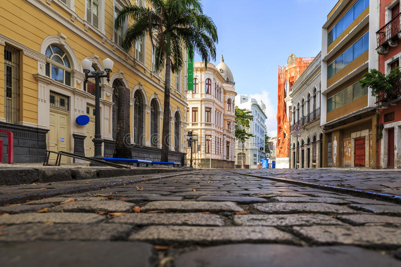 Recife. The historic architecture of Bom Jesus street in Recife, Pernambuco, Brazil with its cobblestones and colorful buildings stock photo