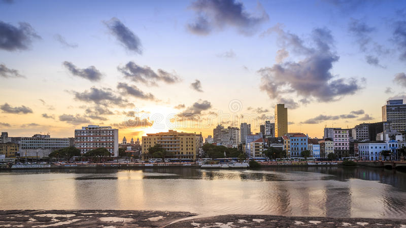Recife. The historic architecture of Recife in Pernambuco, Brazil at sunset royalty free stock photography