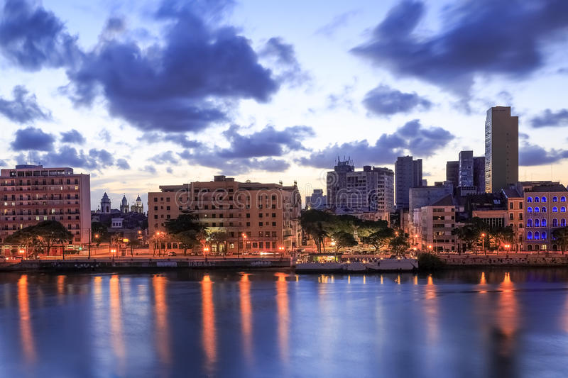 Recife. The historic architecture of Recife in Pernambuco, Brazil at sunset royalty free stock image