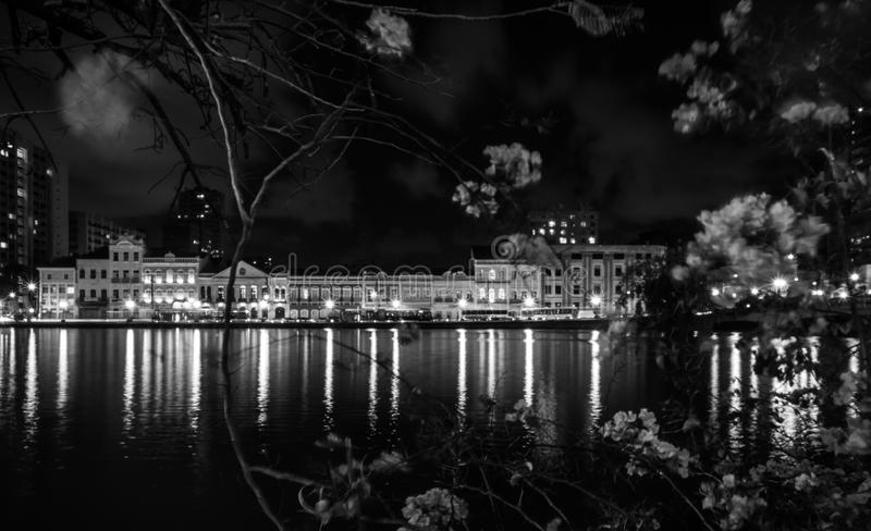 Recife at night. Reflections in Recife royalty free stock images