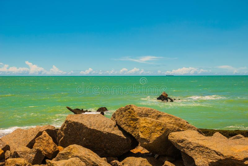 RECIFE, PERNAMBUCO, BRAZIL: Beautiful landscape with views of the rocks and turquoise sea. South America royalty free stock image