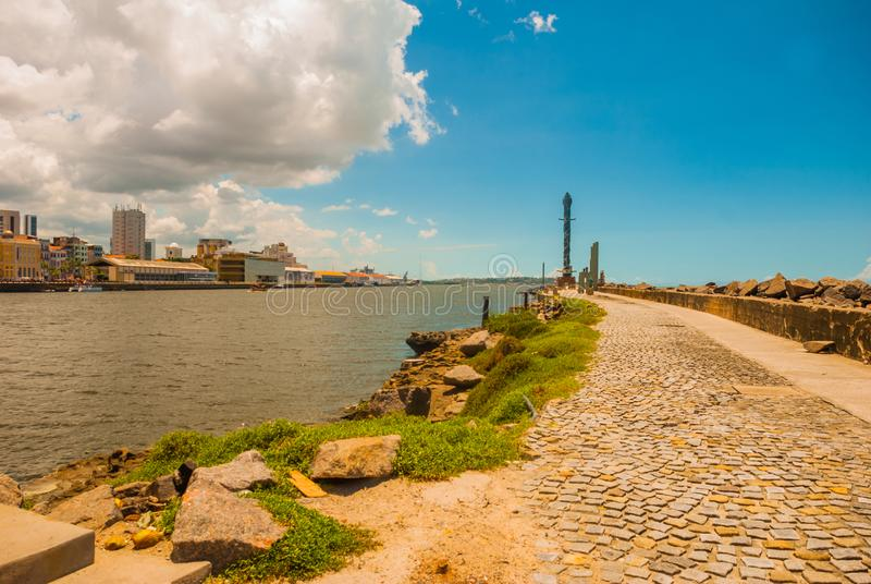 Recife, Pernambuco, Brazil: Panoramic view of Marco Zero Square at Ancient Recife district. Recife, Pernambuco, Brazil,South America: Panoramic view of Marco royalty free stock photo