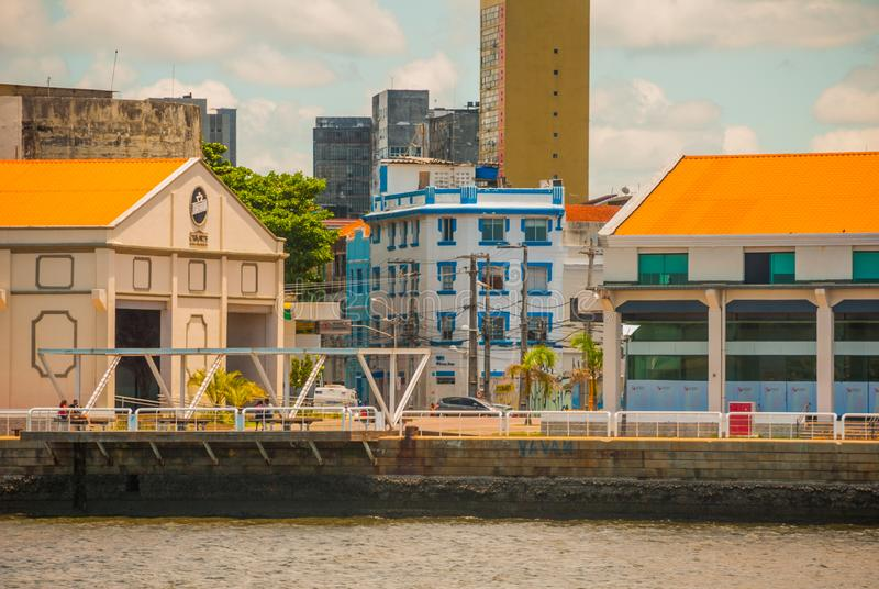 Recife, Pernambuco, Brazil: Panoramic view of Marco Zero Square at Ancient Recife district. Recife, Pernambuco, Brazil,South America: Panoramic view of Marco stock images