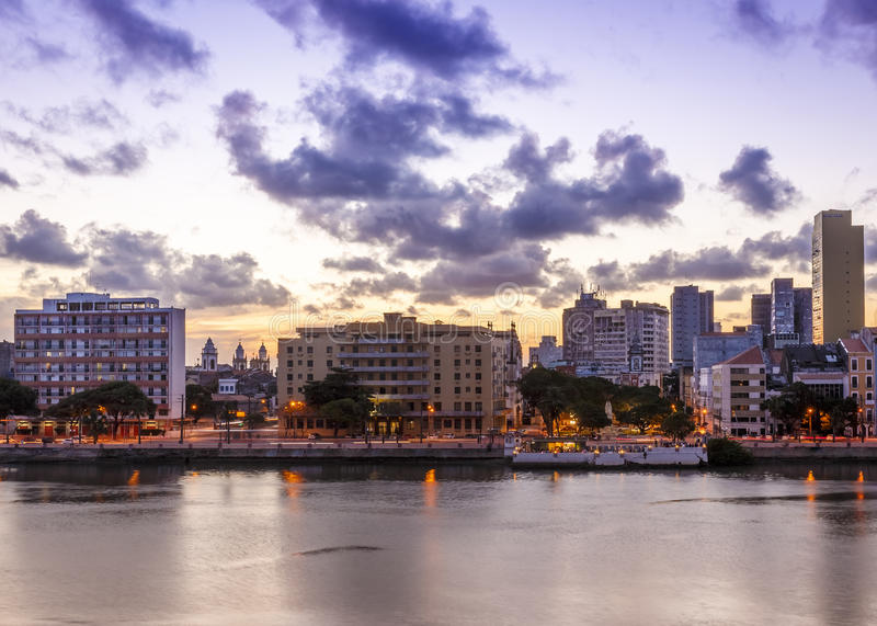 Recife. The skyline of the historic city of Recife in Pernambuco, Brazil at sunset stock images