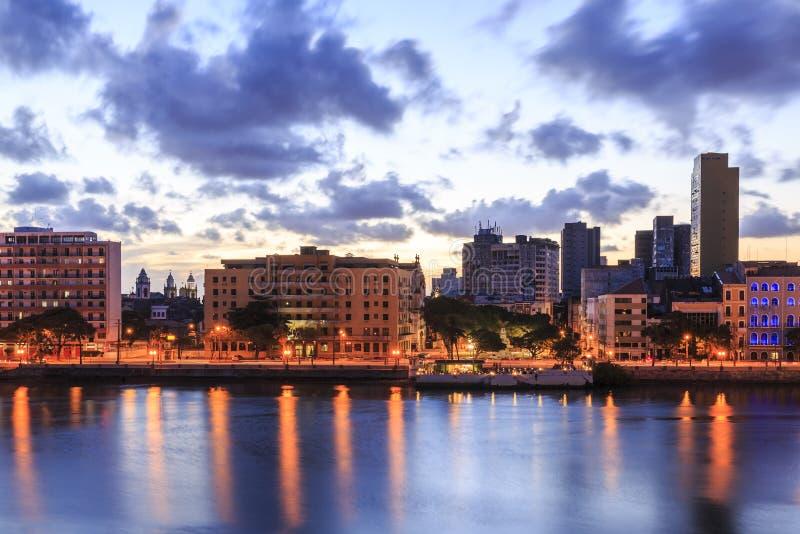 Recife. The skyline of Recife in Pernambuco, Brazil at sunset royalty free stock photo