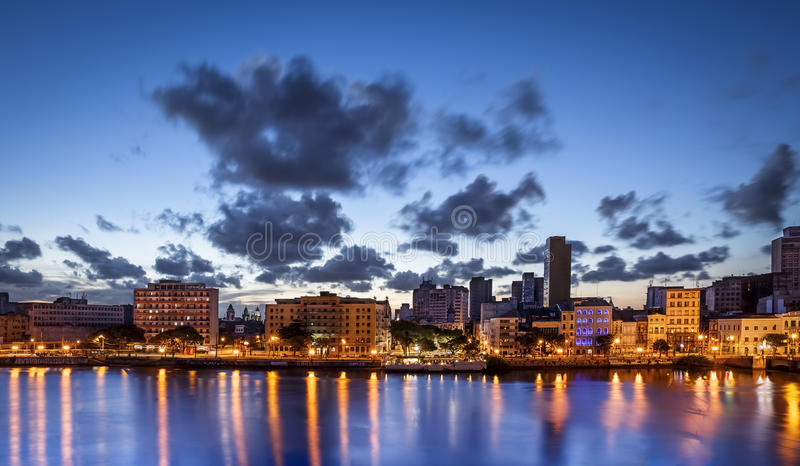 Recife. The skyline of Recife in Pernambuco, Brazil at sunset by the Capibaribe river stock photography