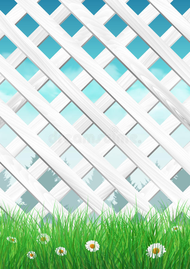 Recinto bianco del giardino con erba ed i fiori, fondo della molla illustrazione di stock