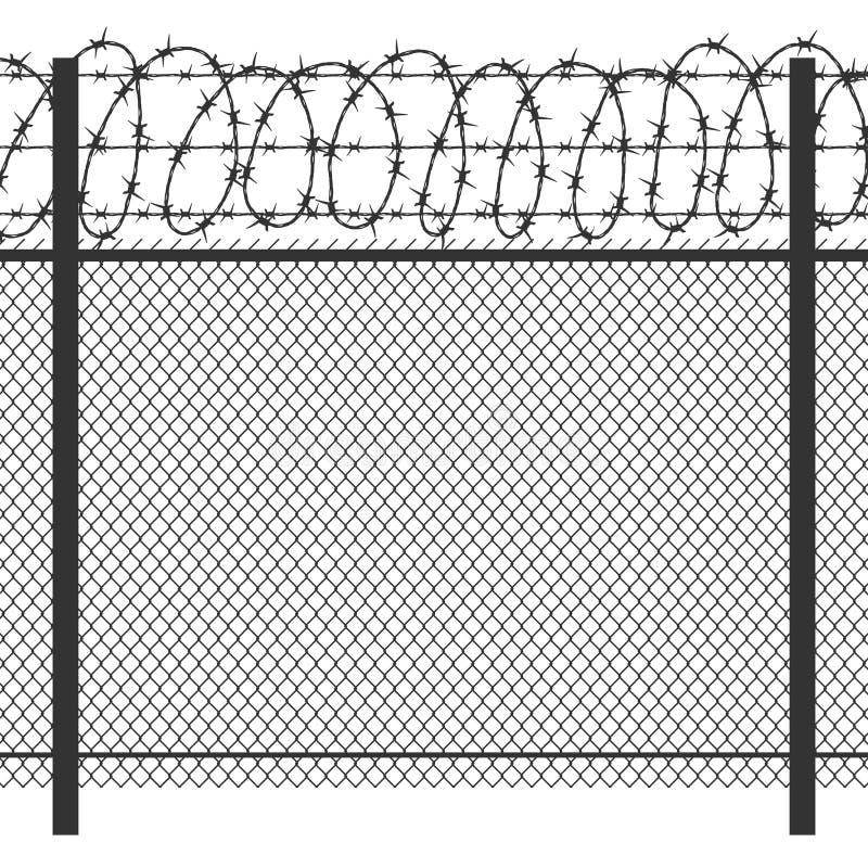 Recinto del metallo di segretezza della prigione con la siluetta nera senza cuciture di vettore del filo spinato royalty illustrazione gratis