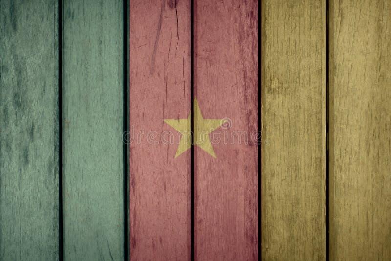 Recinto di legno della bandiera del Camerun fotografia stock