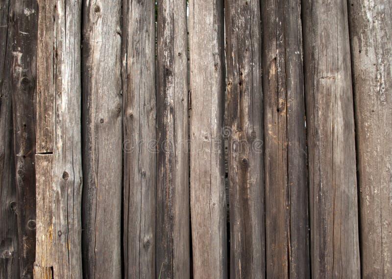 Recinto di legno della palizzata dei tronchi del fondo di legno del primo piano immagini stock