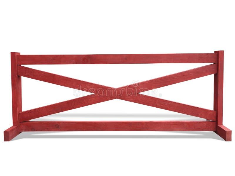 Recinto di legno rosso al ranch isolato sopra bianco fotografia stock