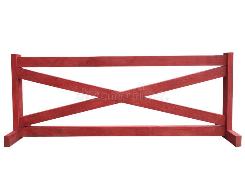 Recinto di legno rosso al ranch isolato sopra bianco immagini stock libere da diritti