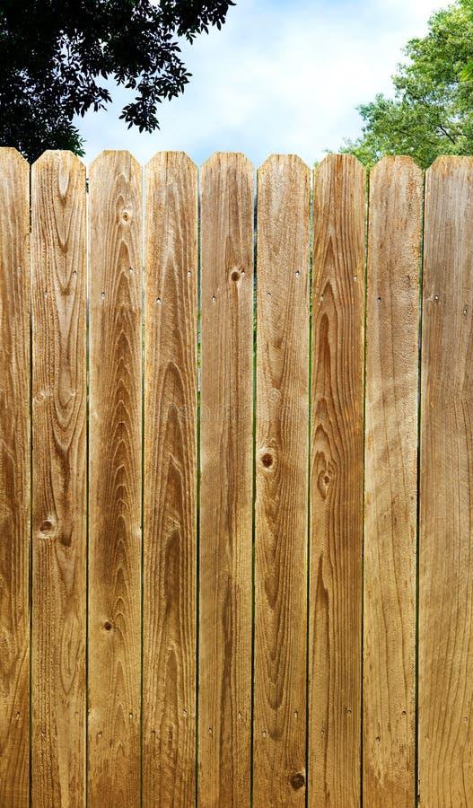 Recinto di legno stagionato alto di segretezza con cielo blu ed il fondo verde dell'albero immagini stock libere da diritti