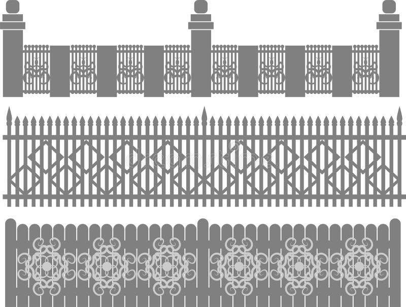 Recinto-griglia del metallo, recinto forgiato La catena isolata collegata recinta il metallo Progettazione piana, vettore illustrazione di stock