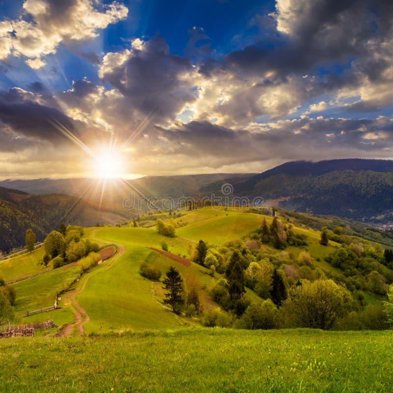 Recinto sul pendio di collina vicino alla foresta in montagna al tramonto immagini stock libere da diritti