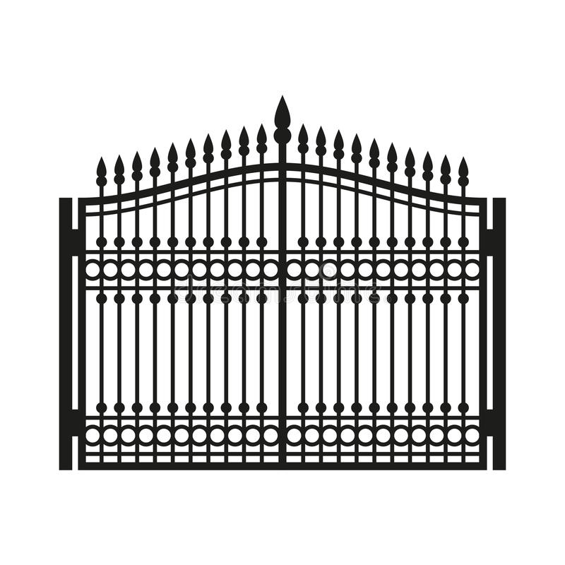 Recinto Wrought Iron Gate Porta di vecchio stile Vettore illustrazione di stock
