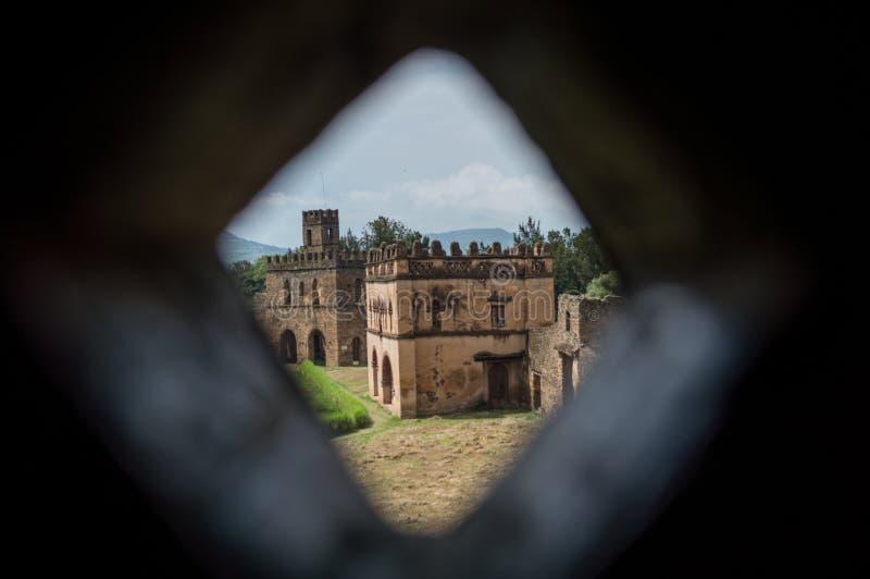 Recinzione reale del castello di Fasil Ghebbi, Gondar, Etiopia fotografia stock libera da diritti