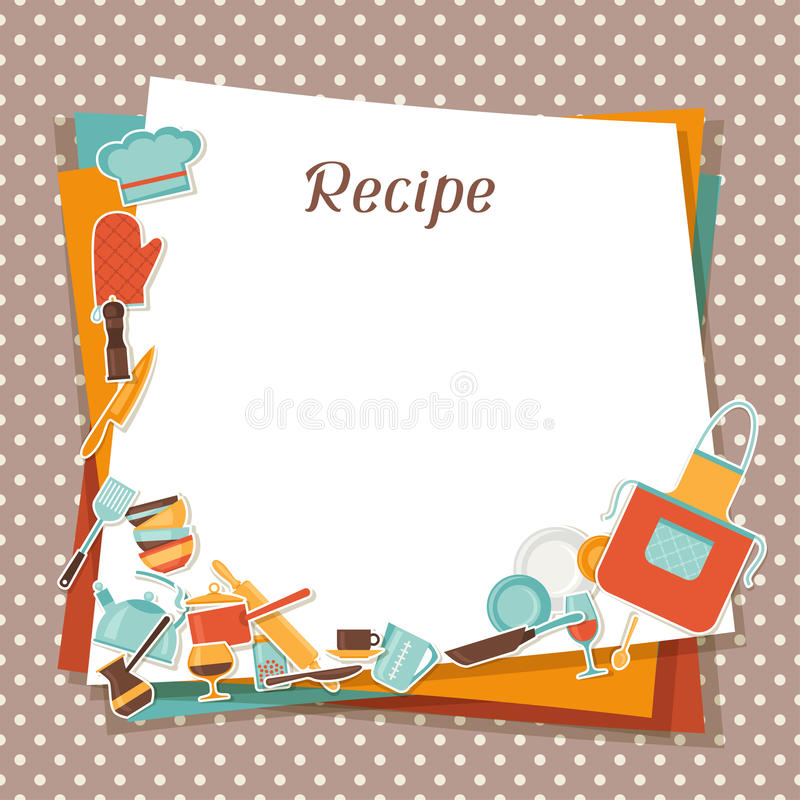 Recipe Background With Kitchen And Restaurant Stock Vector ...