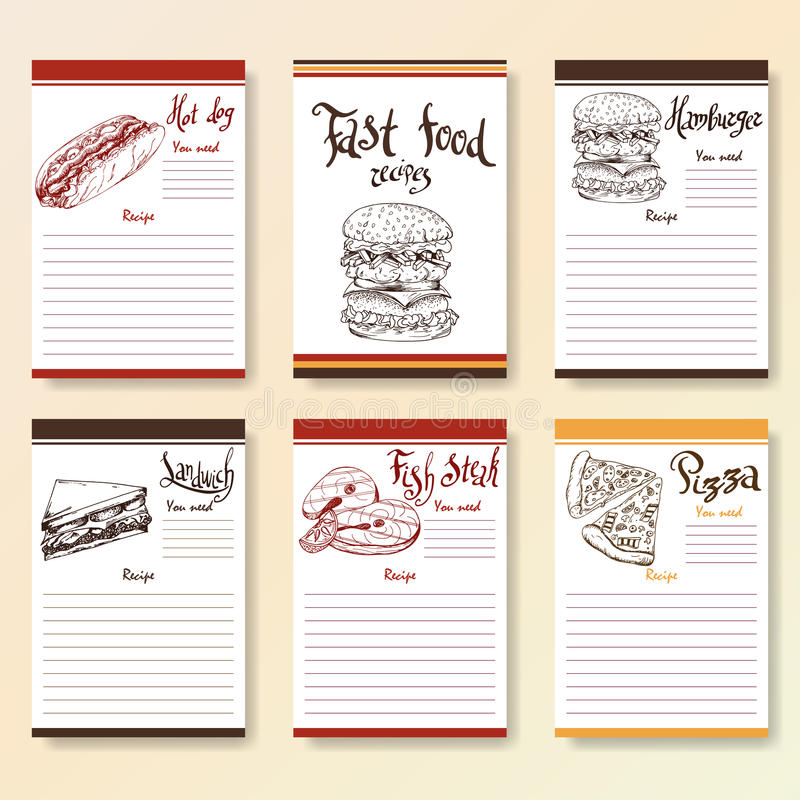 Recipe blanks collection. Fast food objects with hand dawn lettering. Vector food illustration royalty free illustration
