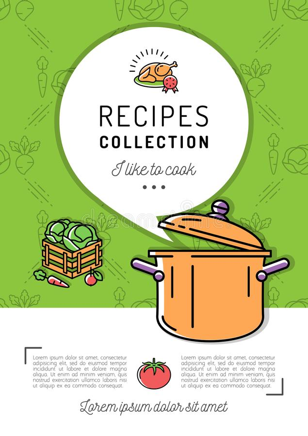 Recipe book Cover menu Cookbook A4 size. Boiling pot, Steam icon, Speech bubble with space for text. Culinary and vegetables background. Colorful vector vector illustration