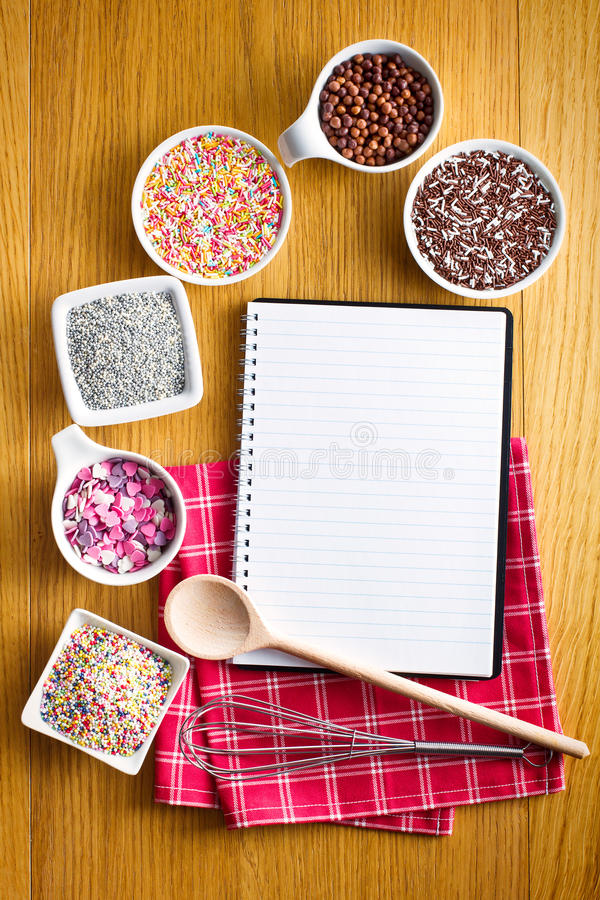 Download Recipe Book With A Variety Of Candy Sprinkles. Stock Photo - Image: 27332116