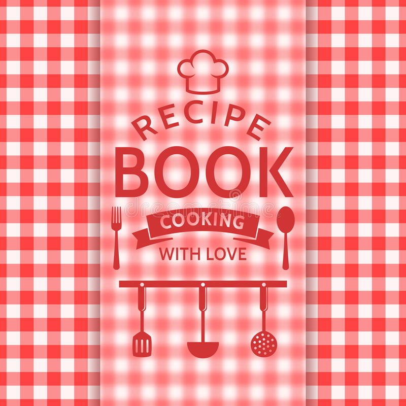 Typographic Book Cover Vector ~ Recipe book vector card stock illustration of