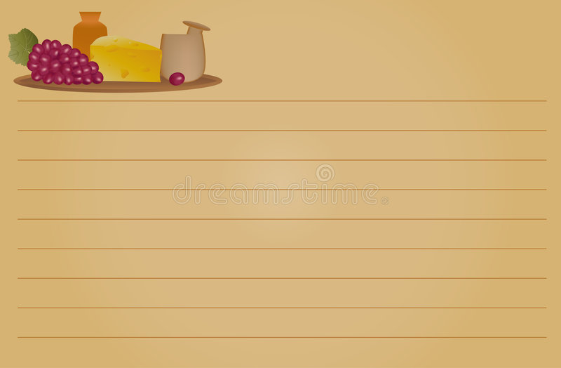 Download Recipe Card - Cheese And Grapes Stock Vector - Image: 8194923