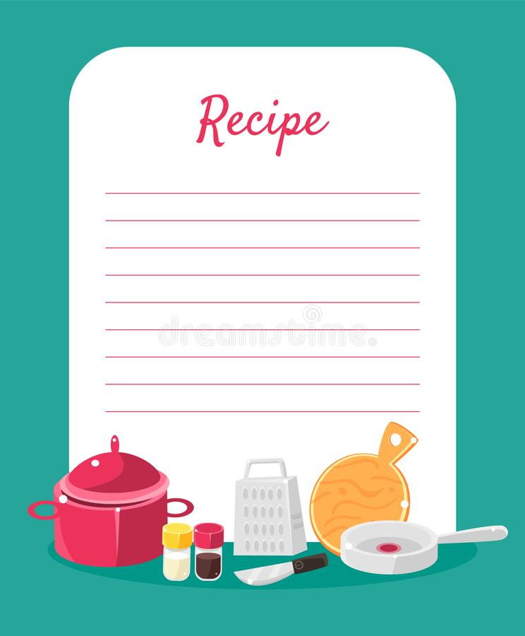 Recipe Cookbook Decorated with Kitchen Tools, Card with Lines for Recipe Placement Vector Illustration. Recipe Cookbook Decorated with Kitchen Tools, Card with vector illustration