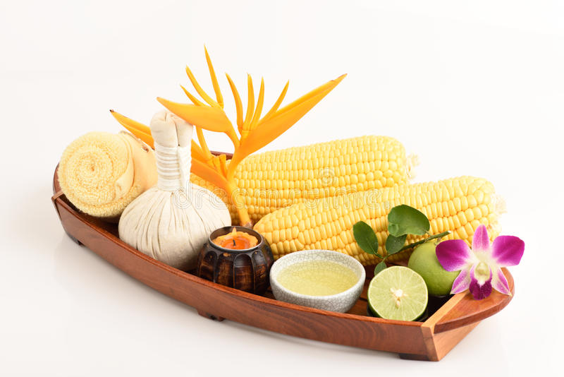 Recipe Cream - Acne. Coat with lemon juice, corn and egg whites. Spas from natural raw materials royalty free stock photo