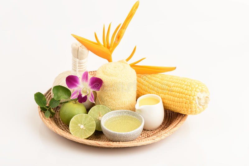 Recipe Cream - Acne. Coat with lemon juice, corn and egg whites. Spas from natural raw materials stock photography