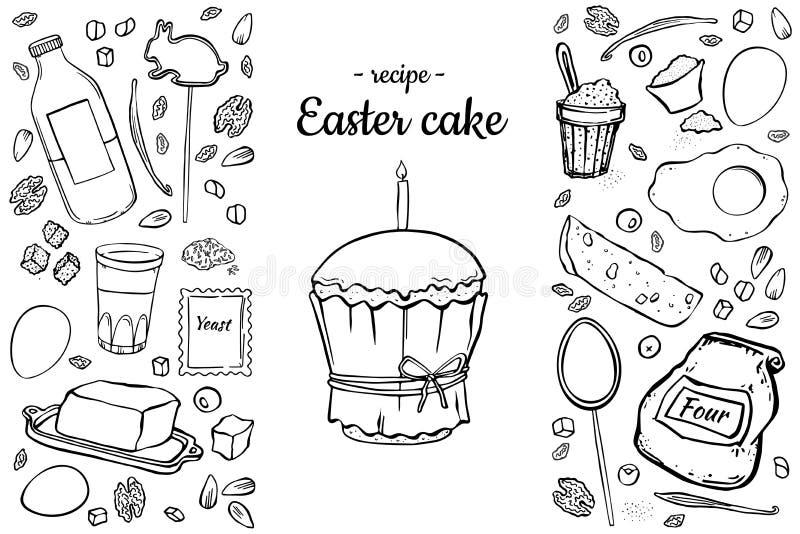 Recipe Easter cake royalty free illustration