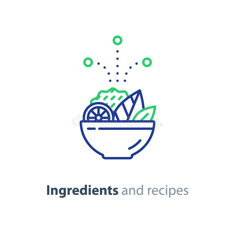Recipe and ingredients salad bowl line icon diet food stock vector download recipe and ingredients salad bowl line icon diet food stock vector illustration forumfinder Choice Image