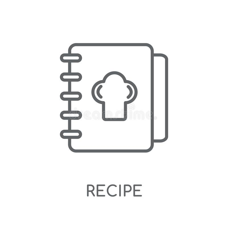 Recipe linear icon. Modern outline Recipe logo concept on white royalty free illustration