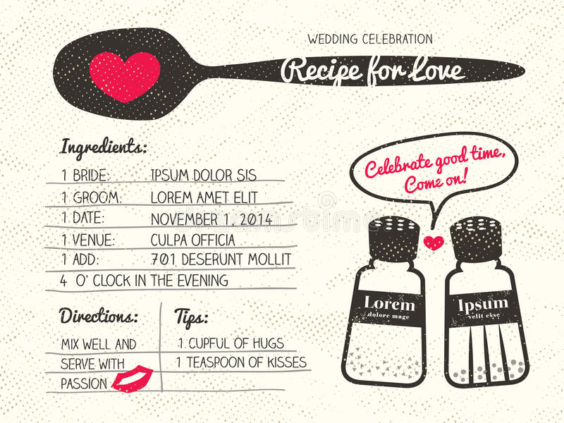 Recipe for Love creative Wedding Invitation royalty free illustration