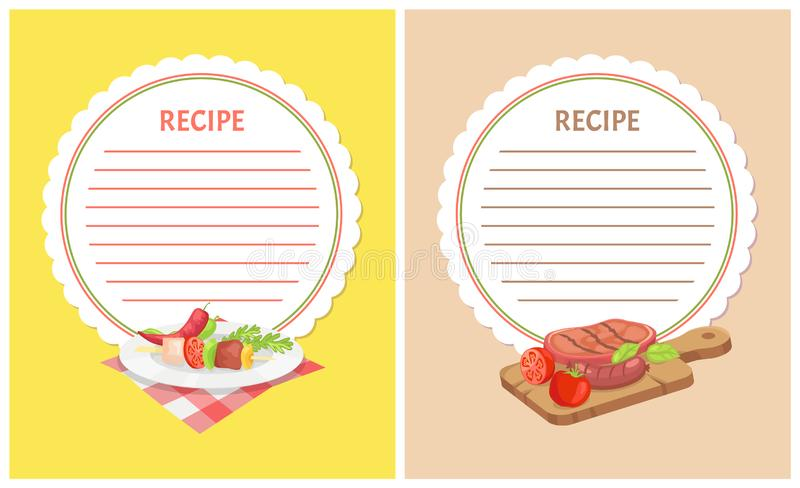Recipe Menu Mockup with Food Ingredients on Plate vector illustration