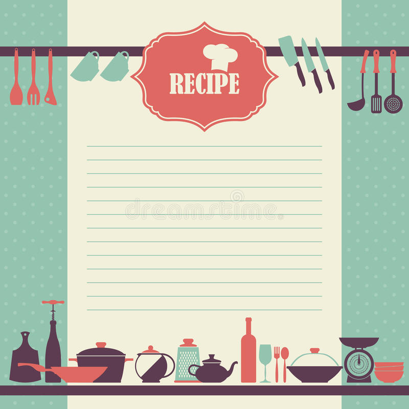 Recipe page design. Vintage style cooking book page stock illustration
