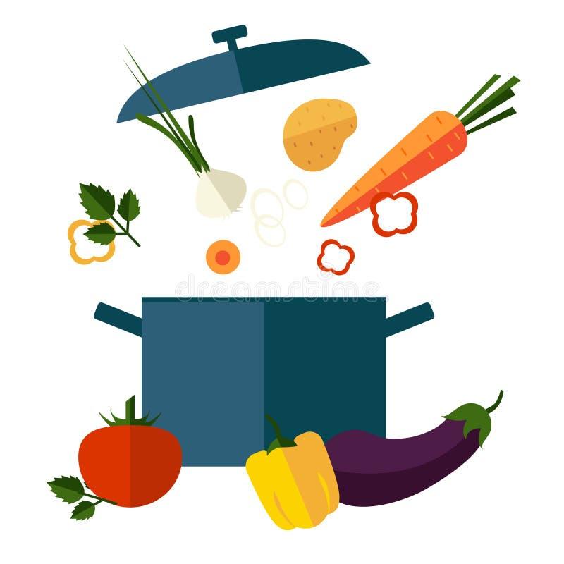 Recipe Vegetarian Vegetable Soup Illustration. Useful soup vegetables. The composition of vegetable soup. The ingredients of vegetable soup. Vegetable soup stock illustration