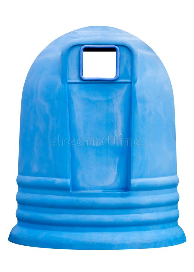 Recipiente azul do lixo isolado no fundo branco fotografia de stock