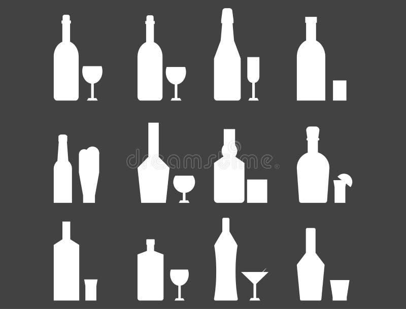 Recipiente branco da cerveja pilsen da garrafa da bebida da silhueta do cocktail das bebidas das bebidas do álcool e menu preto c ilustração do vetor