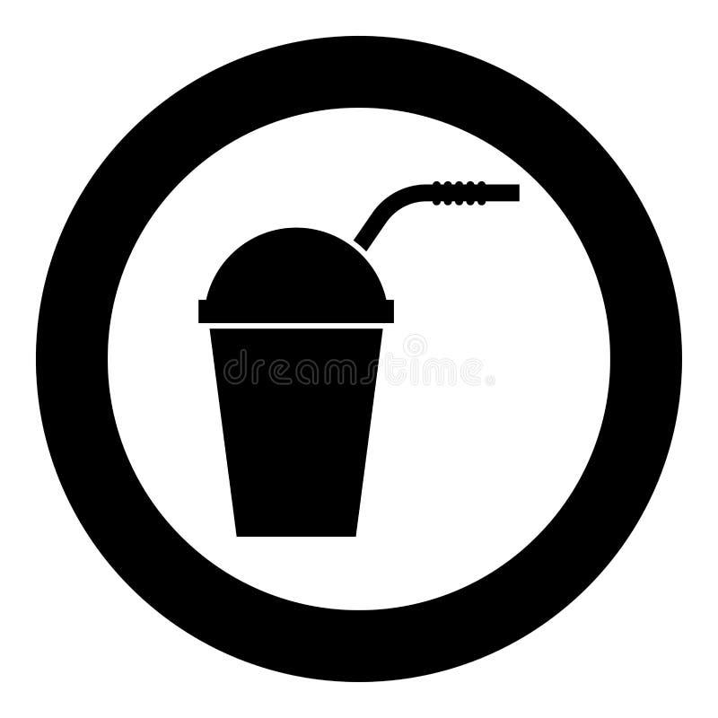 Recipiente chiuso per le bevande fredde calde con colore del nero dell'icona della paglia nel cerchio rotondo illustrazione di stock