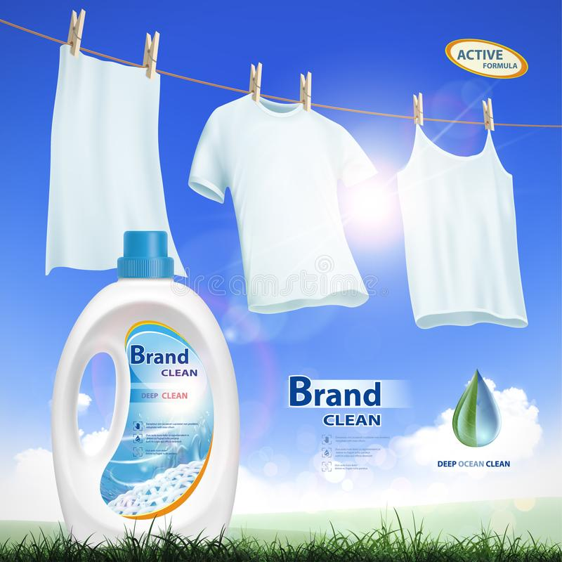 Recipiente com detergente para a roupa ilustração do vetor