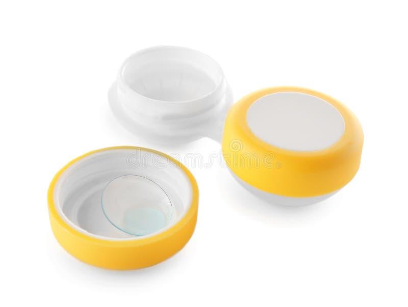 Recipiente com lentes de contato imagens de stock