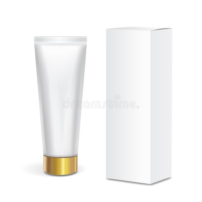 Recipiente cosmético do tubo com tampa do ouro e a caixa branca no fundo branco Zombaria que empacota acima ilustração stock