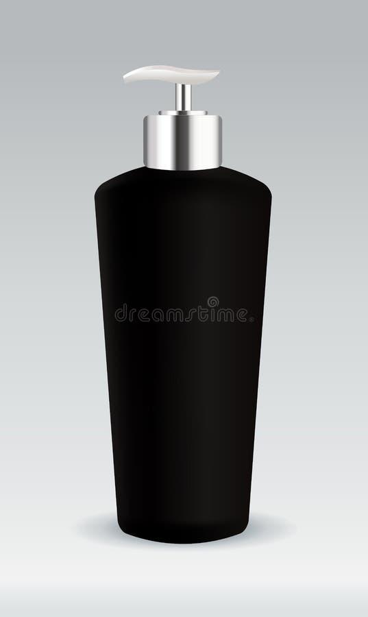 Recipiente cosmético preto do frasco ilustração do vetor