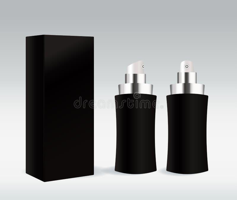 Recipiente cosmético preto para o creme de face, gel, seru ilustração royalty free