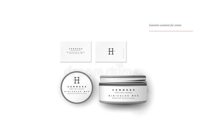 Recipiente cosmético vazio realístico para o creme ilustração stock