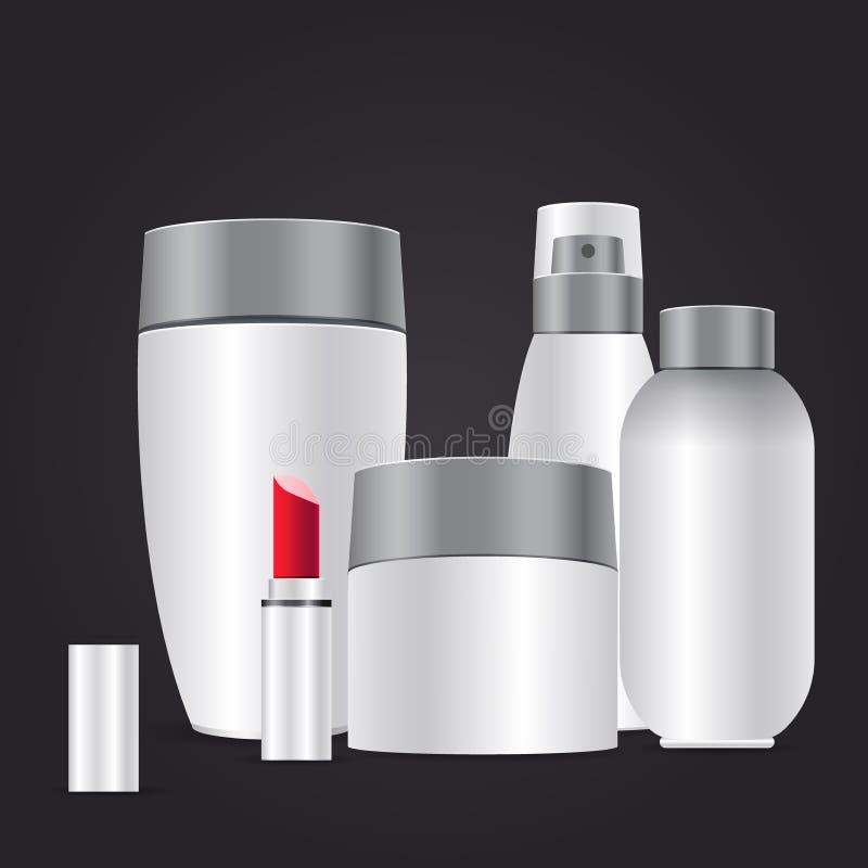 Recipiente cosmético vazio realístico para o creme, o pó ou o gel com a decoração de marcagem com ferro quente de prata ilustração royalty free