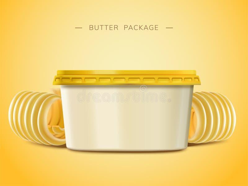Recipiente cremoso da placa da manteiga ilustração stock