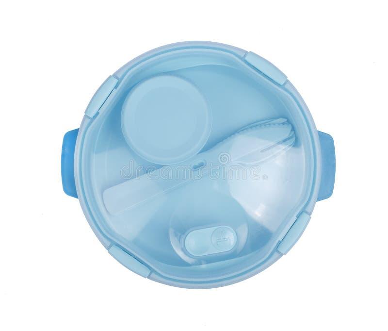 Recipiente da caixa do alimento, plástico, azul, Pinto Plastic, lancheira, fundo branco Vista superior foto de stock royalty free